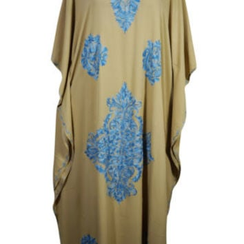 BOHEMIAN WOMENS CAFTAN FLORAL EMBROIDERED INDIAN ETHNIC EVENING WEAR MAXI DRESS