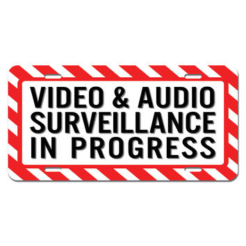 Video and Audio Surveillance in Progress - Business Sign Novelty License Plate