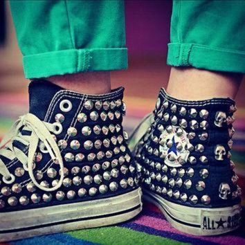 DCCK1IN studded converse silver rivet studs with converse high top by customduo on etsy