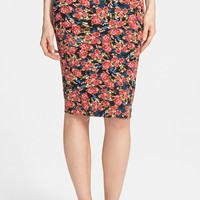 Junior Women's Lily White Print Midi Skirt