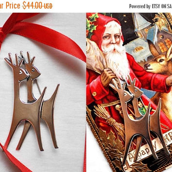 ON SALE Vintage Beau Sterling Silver Deer Brooch, Double Deer Pin, Figural, Stylized,3D, Christmas, Winter, Nature Lover, Rare Find! #b711