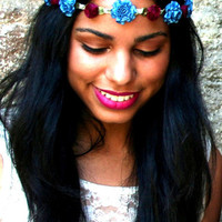 Blue and Burgundy Marigold Floral Head Crown | VidaKush