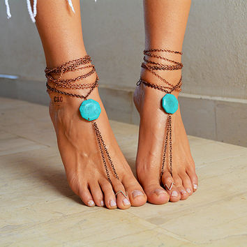 "Women Barefoot Boho Sandals ""Turquoise Eye"""