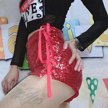 Fashion women tight side Lace up type Solid color Shorts red