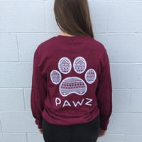 Long Sleeve Maroon Tribal White Print