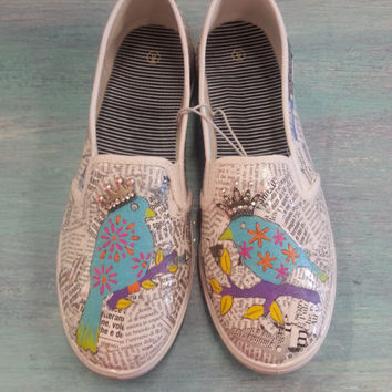 Queen of the Flock Hand Painted Birds Womens Canvas Flats Shoes Slip On Vans Style with Decoupage