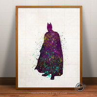 Batman Print Watercolor, Superhero poster, Marvel, Art, Heroes Illustrations, Watercolour, Giclee Wall, Artwork, Comic, Fine, Home Decor