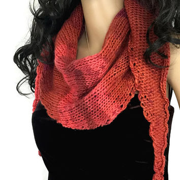 Outlander Scottish Sunset Claire Shawl Shawlette Wrap Scarf accessories  Diana Gabaldon Pink Coral Rose Knitted Neckwarmer
