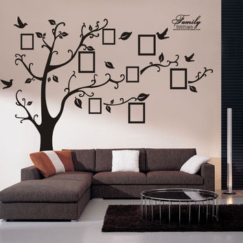 Wall Decal Sticker Removable Photo Frame Tree Bird With Family Quote (Color: Black) = 1697176708