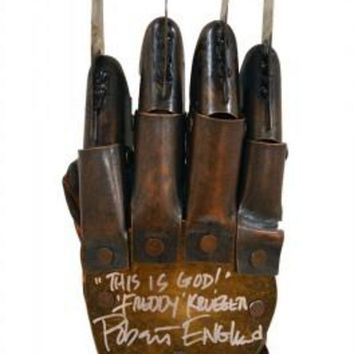 DCCKJNG Robert Englund Signed Autographed Nightmare On Elm Street Freddy Krueger Metal Glove 'This Is God' (ASI COA)
