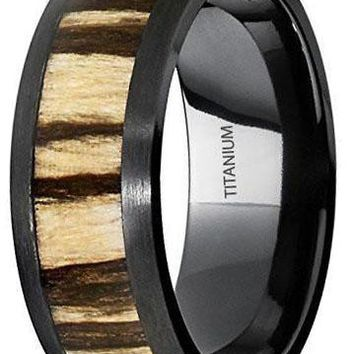 CERTIFIED 8MM Black Titanium Wedding Band Ring with Real Zebra Wood Inlay, Dome, Comfort Fit