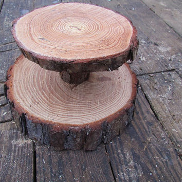 """Reclaimed wood beautiful White Pine rustic Cupcake Stand, 2 tier 12"""" and 8"""" diameter rustic wedding cup cake stand"""