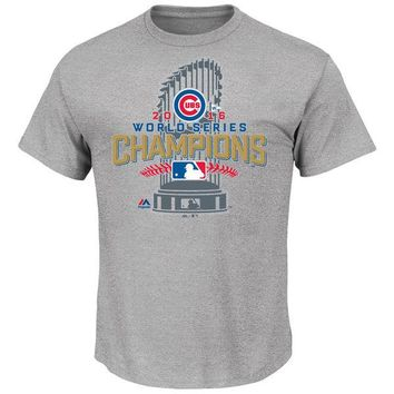 Youth Chicago Cubs Majestic Gray 2016 World Series Champions Locker Room T-Shirt