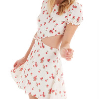 White Cherry Print Cut Out Tie Front Skater Dress