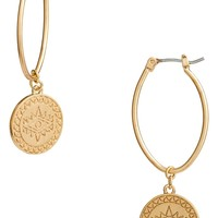 Rebecca Minkoff Etched Coin Hoop Earrings | Nordstrom