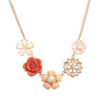 LC Lauren Conrad Gold Tone Simulated Crystal & Simulated Pearl Flower Necklace (Pink)