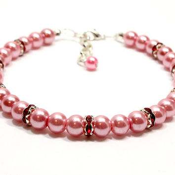 Dark Pink Pearl Collar with Dark Red Crystal Beads. Hot Pink Pearls for Dog Collar. Cat Collar with Pink Beads and Red Spacers Beads.