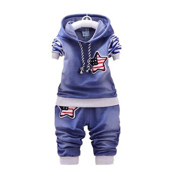 Spring Autumn Children Boy Girl Cotton Clothes Kids Denim Striped Hoodies Pants 2Pcs/Sets Fashion Baby Embroidery Star Tracksuit