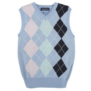 ESB1ON Blue Argyle Easter Sweater Vest