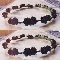 black floral crown