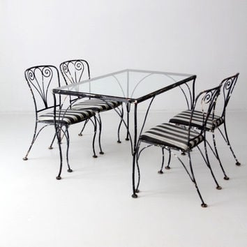 FREE SHIP vintage wrought iron table set, outdoor furniture