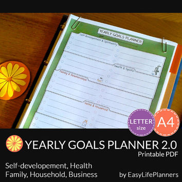 YEARLY GOALS PLANNER Printable. A4. Letter Size. Perpetual pdf organizer. Family, Business, Home and Health goals planner. Instant download.