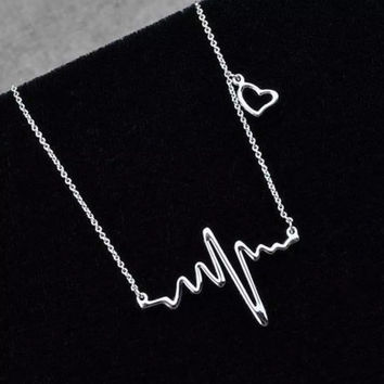 Vital Signs Heart EKG Pendant Necklace