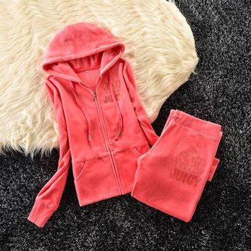 Juicy Couture Studded Simple Logo Crown Velour Tracksuit 31058 2pcs Women Suits Orange Red