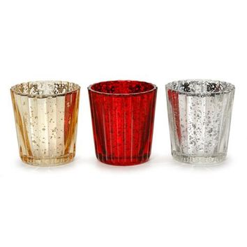 Mercury Glass Tea Light Holder: 2.13 x 2.25 inches, 3 Assorted Colors