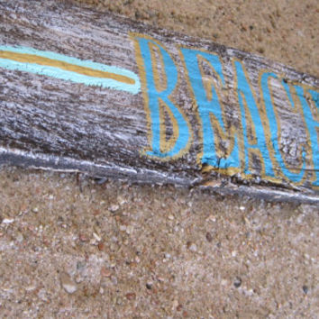 Aged Wood Beach Wall Sign with Blue Beach Lettering and Minty Turquoise Arrow with Gold Detailing Beach House Coastal Ocean Wall Decor