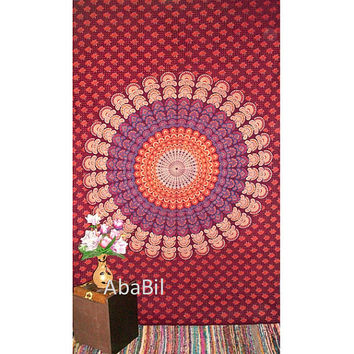 Twin Barmeri Flowers Printed Indian Mandala Hippie Tapestry Cotton Bedspread Hippie Bohemian Throw Bedcover Home Decor