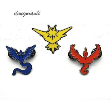 W4696 New  GO brooch Team Valor Instinct Mystic Logo Tag Metal pin for Women and Men fans Costume JewelryKawaii Pokemon go  AT_89_9