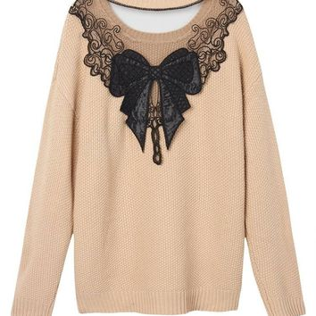 Sexy Bow Lace Patchwork Backless Long Sleeve Pullover Sweater