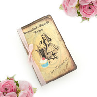 Recipe Book - Alice in Wonderland - Blank Recipe Journal - Bridal Tea Party Guest Book - Recipe Organizer - Mad Hatter Notebook