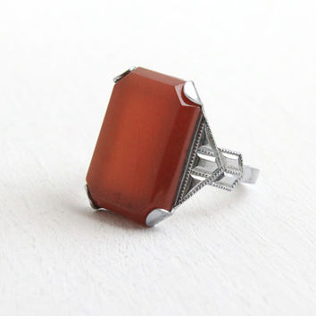 Antique Art Deco Simulated Carnelian Ring- 1920s 1930s Vintage Size 7 1/2 Red Stone Silver Tone Costume Jewelry