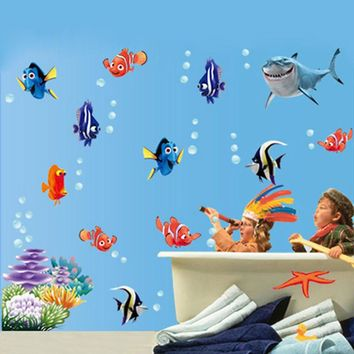 Underwater World 1pcs Wall Stickers Sea Fish star Carton bathroom nursery home decor decals Pvc Stickers