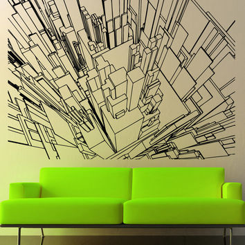 Vinyl Wall Decal Sticker Line Buildings Sky View #5255