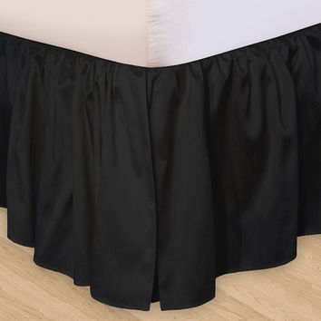 1000TC Egyptian Cotton Black Ruffle Bed Skirt  - Available in All Size