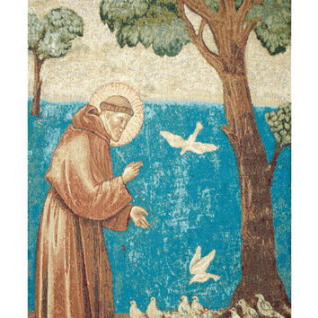 St. Francis Preaching to the Birds Tapestry Wall Art Hanging