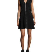 Rag & Bone Sharon Sleeveless Zip-Front Jersey Dress, Black
