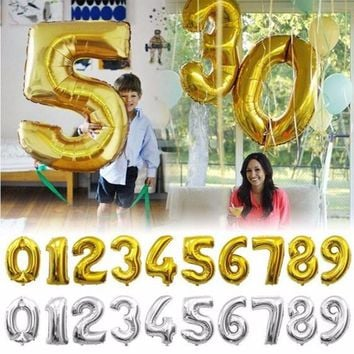 1 pcs 32 inches Gold Silver Number Foil Balloons Digit air Ballons Birthday Party Wedding Decor Air Baloons Event Party Supplies