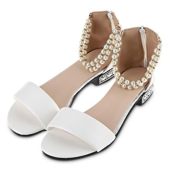 Pure Color Pearl String Strap Ladies Flat Sandals