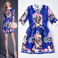 Dark Blue Doll Collar Sleeve Floral Lace Beaded  Swing Mini Dress