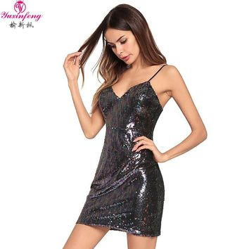 Yuxinfeng 2018 New Women Sexy Glitter Dress Party Clothing Ladies Fashion V Neck Club Backless Bodycon Sequin Dresses Plus Size