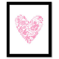 INSTANT DOWNLOAD, Floral Heart, Printable Art, Baby Girl Decor, Nursery Art. Nursery Decor, Floral Wall Art, Pink Nursery Art, Heart Print