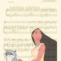 Pocahontas Just Around The Riverbend Sheet Music Art Print