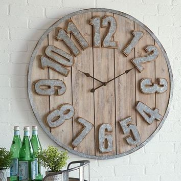 Refined Farmhouse Wood and Metal Clock -- 33-1/2-in