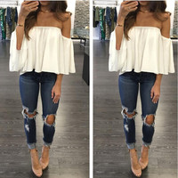 Off Shoulder Flounced Chest Wrapped Top
