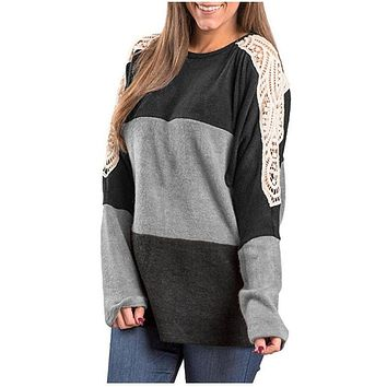 Loose Color Block Lace Patchwork Long Sleeves T-shirt