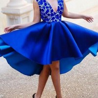 Royal Blue Patchwork Lace Irregular High-low Deep V-neck Backless Banquet Party Midi Dress
